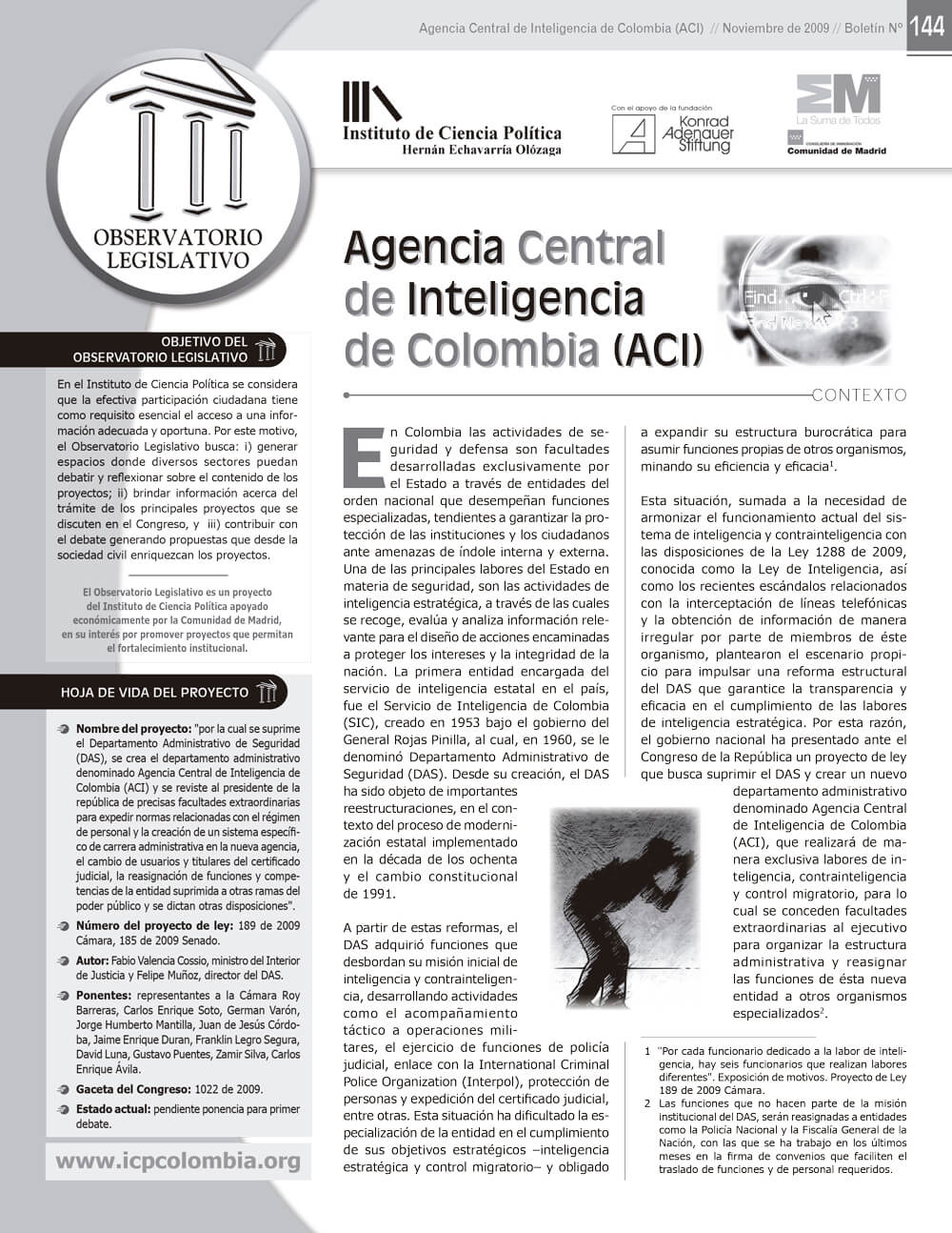 2009.11.01--Boletín-144-Agencia-Central-de-Inteligencia-de-Colombia-1