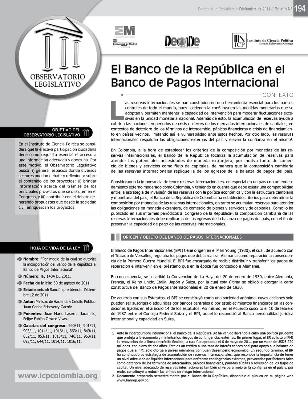 Boletín No. 194 Colombia en el Banco de Pagos Internacionales - ICP
